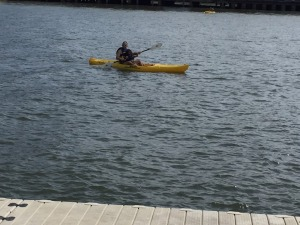 Paddling in the Hudson with Ayelet.
